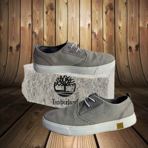 Men's Timberland canvas boat shoes